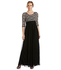 R and M Richards Metallic Lace and Chiffon Gown #Dillards