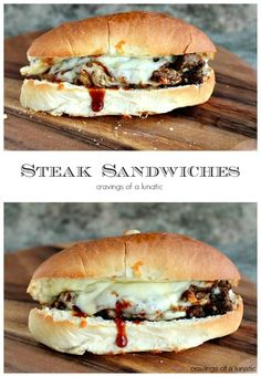 Steak Sandwich | cravingsofalunatic.com | Amazing steak sandwich layered with caramelized onions, mozzarella cheese and barbecue sauce.
