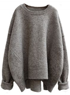 Heathered Batwing Sleeve Round Neck Asymmetric Loose Knit Sweater novashe.com