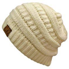 Amazon.com: Winter White Ivory Thick Slouchy Knit Oversized Beanie Cap Hat: Clothing