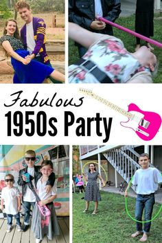 Throwing a theme party is so much fun (and so easy)! Check out all the details like where to get party supplies and decorations, what to wear, and what games to play! Don't forget the Rock & Roll music! 1950s Theme Party, Fifties Party, 50s Theme Parties, Adult Party Themes, Grease Themed Parties, Retro Party, Kids Party Games, Birthday Party Games, Party Activities