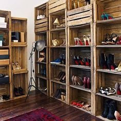 Lots of ideas on how to re-use old wooden pallets like this stacked crate shelving unit to showcase your shoes