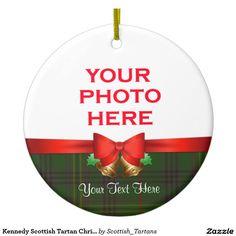 Kennedy Scottish Tartan Christmas Photo Double-Sided Ceramic Round Christmas Ornament