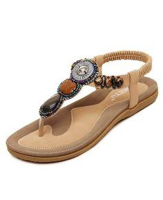 56119533313c 4 Color Bohemia Beaded Beach Sandals