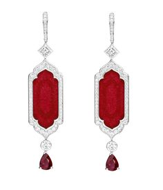 Art Deco-inspired Piaget ruby and diamond earrings, as worn by actress Jessica Chastain to the 2015 Met Gala.