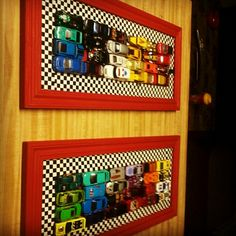 Hot Wheels glued onto the picture frame... Checkered duct tape around the inside frame. So cute for a little boys room :)