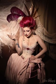corset sylphe crinoline cage by AtelierSylpheCorsets on DeviantArt Red Corset Dress, Vintage Corset, Lace Tights, Dominatrix, S Girls, Burlesque, The Little Mermaid, Pin Up, Creations