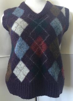 Royal Scott Shetland Wool Argyle Purple Gray Sweater Vest M s Preppy Warm Top   eBay