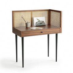 Vintage-Schreibtisch NOYA mit Rattangeflecht Vintage desk noya with rattange braided walnut wood La Redoute Interieurs Decor, Furniture, Interior, Vintage Desk, Interior Furniture, House Interior, Furniture Inspiration, Furnishings, Furniture Design