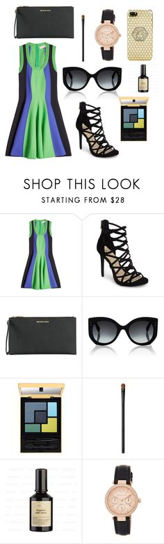 """""""Fit and Flare Dress"""" by cathy-ranjan ❤ liked on Polyvore featuring Emilio Pucci, Jessica Simpson, MICHAEL Michael Kors, Fendi, Yves Saint Laurent, NARS Cosmetics and Versace"""