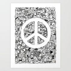 Peace   Doodle Art Print  kerbyrosanes  Society6.com