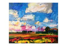 Blooming Spring Field and White Clouds  Original Abstract Art