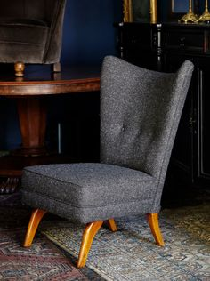 Mid-Century Howard Keith wing chair in Cherchbi Herdwyck Tweed Sofa Chair, Wingback Chairs, Wing Chair, Grey Chair, Armchairs, Home Furniture, Furniture Design, Online Furniture Stores, Mid-century Modern