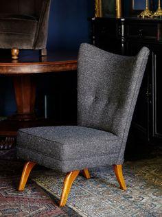 Mid-Century Howard Keith wing chair in Cherchbi Herdwyck Tweed
