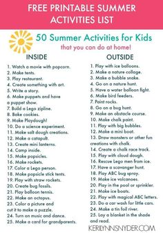 50 summer activities for kids- plus free printable Keri Lynn Snyder shares 50 summer activities for kids that are perfect for inside and outside. Grab your free printable of the activities today! Nanny Activities, Babysitting Activities, Summer Activities For Kids, Holiday Activities, Toddler Activities, Babysitting Kit, Summer Programs For Kids, Indoor Activities, Summer Fun List