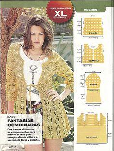 Ivelise Handmade: Beautiful Jacket In Crochet! Crochet Poncho Patterns, Crochet Coat, Crochet Mittens, Crochet Jacket, Crochet Cardigan, Crochet Shawl, Sweater Patterns, Crochet Skirts, Crochet Clothes