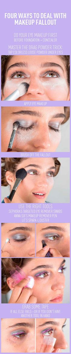 Eyeshadow Basics Everyone Should Know Makeup fallout is inevitable (especially with darker shadows), but there are definitely ways to fix it.Makeup fallout is inevitable (especially with darker shadows), but there are definitely ways to fix it. Eyeshadow Basics, Eyeshadow Makeup, Makeup Basics, Makeup Contouring, Tips And Tricks, How To Apply Mascara, How To Apply Makeup, Beauty Secrets, Beauty Hacks