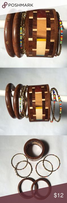 "✨NEW Listing✨Wooden bracelet bangle set Bracelet set includes 3 wood pieces and 4 goldtone bangle pieces (3 beaded and one rhinestone). 2.5"" inner diameter. You might make sure of measurement against other bangle bracelets you own. I'm reselling because I couldn't fit them over my hand without really forcing it and that didn't seem like a great idea. I believe they are an average size and should work for most people. **Large wood bracelet has some indentations, as shown in last photo…"