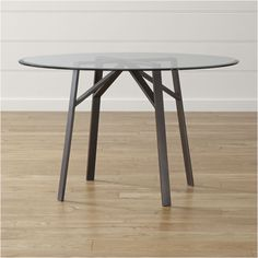 Shop Belden Round Dining Table with Glass Top. Designed by Amanda Ip of Slate, the table comfortably seats up to four. The Belden Dining Table with Glass Top is a Crate and Barrel exclusive. Nook Table, Kitchen & Dining Room Tables, Glass Dining Table, Dining Tables, Kitchen Nook, Dining Area, Round Outdoor Dining Table, Patio Table, Table And Chairs