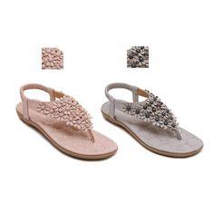 ca5a2e6d9a181 Bohemia Beads Flower Pattern Summer Clip on Women Sandals