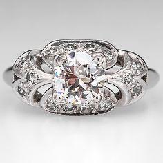 Antique 1930's Engagement Ring Old Euro Diamond Solid Platinum Estate Jewelry | eBay