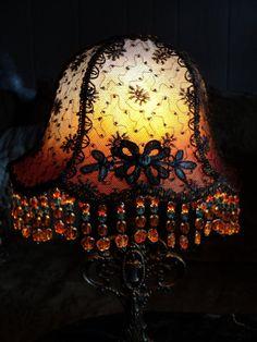 Pair of Antique Handmade Boudoir mantle lamps by Bellasoiree, $1200.00