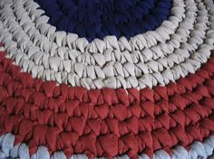 Red White and Blue Crocheted Round Rug from recycled by mrsginther: This is an excellent idea for reusing T-shirts. #IndependenceDay #FourthofJuly