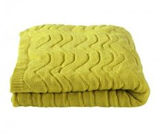 Acrylic Knitted Wavey bed Throw Chartreuse.
