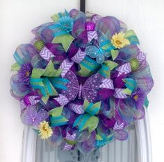 """22"""" Spring Plaid Deco Mesh Wreath with Daisies and Butterflies (diy butterfly wreath)"""