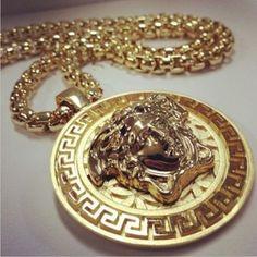 Versace Jewelry, Luxury Jewelry, Gold Jewelry, Jewelry Accessories, Versace Necklace, Gold Necklace, Fashion Accessories, Bracelets, Diamonds