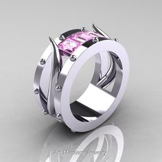 Harald Hardrada - Mens 14K White Gold Light Pink Sapphire Channel Cluster Wedding Band R417M-14KWGLPS