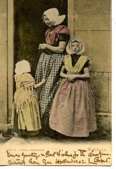 Typical Dutch Little Girls-Mother-House Door-Walcheren-Holland-Vintage Postcard