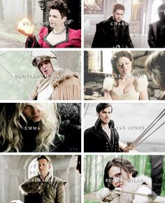 Opposites --  Snow White: evil, Charming: a slave, Rumplestiltskin: a hero, Belle: helpless without a man, Emma Swan: weak, Killian Jones: cowardly, Robin Hood: marrying Zelena, Regina: hated by the Queen