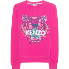 KENZO Sweater Tiger Pink // Sweatshirt with embroidered tiger ($225) ❤ liked on Polyvore featuring tops, hoodies, sweatshirts, crew top, crew-neck sweatshirts, embroidered sweatshirts, kenzo sweatshirt and crewneck sweatshirt