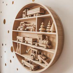 Big round shelf Plywood Shelves, Wooden Shelves, Wall Shelves, Round Shelf, Wooden Toys, Bookcase, Kids Room, Etsy, Big