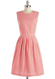 Diner Delight Dress. Slip into this houndstooth-printed dress for tonights dinner date, and youll feel as sweet as strawberry pie!  #modcloth
