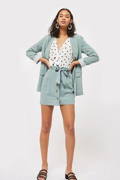 Linen Button Paperbag Skirt