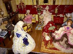 Miniature Victorian ladies gathering room, for high tea, by Lisa.