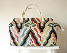 large mod carpet bag / woven doctor style tote