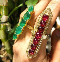 longing ring emerald and ruby #hautecouture #highjewellery #emerald #ruby #diamond #jewelrydesigner ❤️✳️❇️♻️❗️