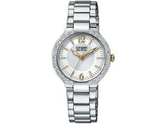 Citizen Stainless Steel Firenza Eco-Drive Diamond Bezel White Dial Sapphire   Brushed and Polished Stainless Steel case and bracelet. Diamond accented bezel. White dial with gold luminous hands and gold markers. Precise Eco-Drive movement - is powered by any light source. Charges in Sunlight or Indoors. Scratch resistant sapphire crystal. Push-button hidden deployment clasp. Water-Resistant to 30m. Sapphire crystal. Case measures 29mm diameter by 7mm thick.