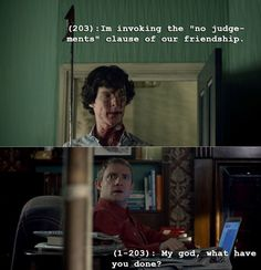 """Texts from Baker Street. No judgement clause. """"...Well, that was tedious."""" """"You went throught the tube like that??"""" """"None of the cabs would take me!"""""""