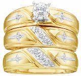 Men's Ladies 10K Yellow Gold .15CT Round Cut Diamond Wedding Engagement Bridal Trio Ring Set (ladies size 7, men size 10; message us for more sizes) $469.99