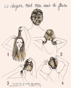 French twist with flowers/ Chignon Mad Men Down Hairstyles, Summer Hairstyles, Pretty Hairstyles, French Hairstyles, Twist Hairstyles, Medium Hairstyles, 1960 Hairstyles, Evening Hairstyles, Homecoming Hairstyles