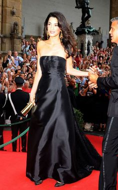 Amal Alamuddin in a strapless black gown