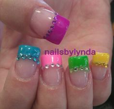 Rainbow Easter nails