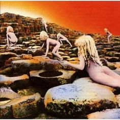 Top 50 Most Iconic Album Covers - IGN - Led Zeppelin/Houses Of The Holy - A collage of pictures taken at Giant's Causeway in Northern Ireland creates this strikingly eerie image of naked children climbing it toward a glowing orange sky. The picture inspired by the conclusion to Arthur C. Clarke's Childhood's End, involving hundreds of million naked, deformed human children. The creepy, mysterious picture was all there was to the cover, with no band or album name to be found.