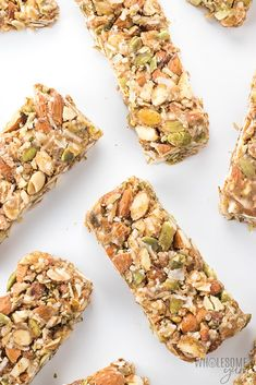 BEST Sugar-free Keto Low Carb Granola Bars Recipe | Wholesome Yum Low Carb Protein Shakes, Vegan Protein Bars, Keto Bars, High Protein, Keto Foods, Keto Snacks, Healthy Snacks, Eat Healthy, Healthy Bars