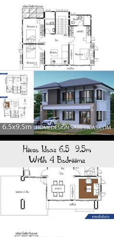 House Ideas 6 5x9 5m With 4 Bedroomshouse Description Ground Level One Bedroom One Car Parking Livin In 2020 Floor Plan 4 Bedroom Modern Architecture Modern Bedroom