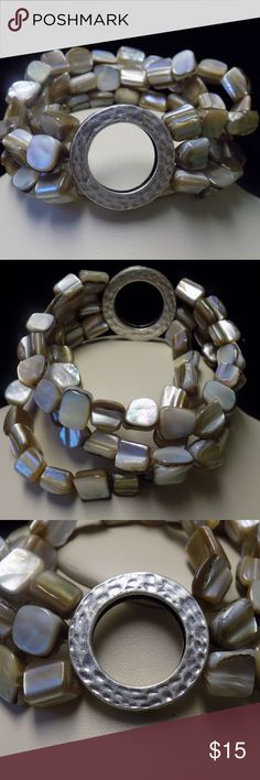 """Premier Design Retired Sandstone Stretch Bracelet Premier Designs """"Sandstone"""" Bracelet Retired Genuine Mother of pearl and natural shell Three stranded design with hammered matte silver accent 6.25"""" Stretch Bracelet Display piece from former consultant's kit Premier Designs Jewelry Bracelets"""